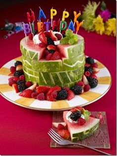 Birthday fruit-cake! Cute! Class treat idea??
