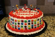 DIY Power Ranger Birthday Cake! #birthdaycake #M&M's #3rdBirthday #DIY