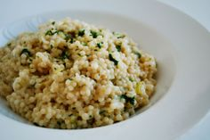 Parmesan Pearl Couscous  Think of this dish as risotto but without all the cooking and stirring. It's creamy and starchy like risotto, but cooks in less than 15 minutes.