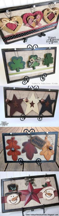 One Frame For Every Season, (tutorial here: http://todaysfabulousfinds.blogspot.com/2011/01/frame-for-every-season.html) Burlap Crafts, Wooden Crafts, Decor Crafts, Diy Crafts, Diy Home Decor, Burlap Projects, Craft Day, Craft Night, Craft Gifts