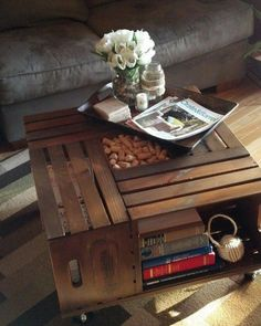 Tavolino cassette di legno
