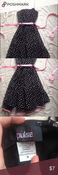 Polka dotted dress Black polka dotted dress with a pink ribbon belt. Pulse Dresses