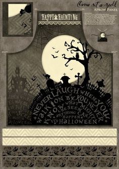 COME SIT A SPELL SPOOKY GRAVEYARD HAUNTED HOUSE BATS HALLOWEEN FABRIC PANEL