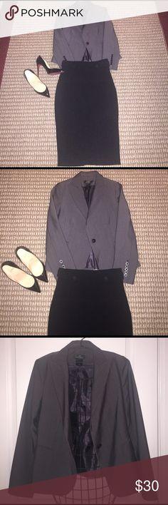 Gray stripe blazer Striped blazer with single button Jackets & Coats Blazers