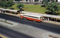 Antigo ônibus Papa-Fila da CMTC estacionado em ponto de ônibus, na década de 60