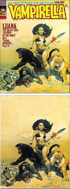 FRANK FRAZETTA - Vampirella #31 - March 1974 Warren Publications - cover by vampilore.co.uk - print by stendec8.blogspot.com