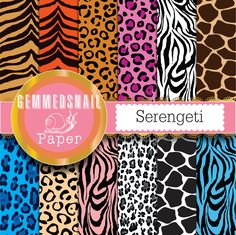 Animal print digital paper. Safari digital paper. 'Serengeti' wild animal backgrounds x 12