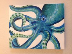 Blue Curly Octopus Painting by ChocolatePig on Etsy