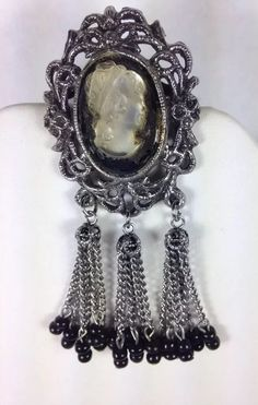 Vintage Fashion Jewelry Cameo Brooch Silver tone Tassels Black Beads #Unknown