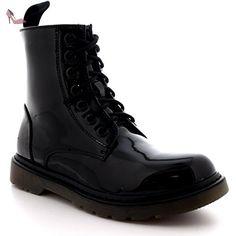 9f3e8a2d13be70 Femmes Militaire Cru Armée Lacer Goth Chaussures Plates Roche Bottes - Noir  Brevet - 39 -