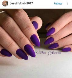 Purple Acrylic Nails, Purple Nail Art, Purple Nail Designs, Almond Acrylic Nails, Matte Nails, Pink Nails, Hot Nails, Hair And Nails, Gorgeous Nails