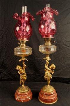 lámparas francesas Cupido figural de bronce