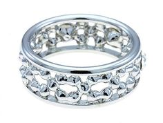Silver Eternity Ring Swarovski Clear Crystals Band womens Size 6 USA Seller
