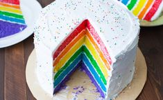 30 Sweet and Savory Rainbow Foods for St. Patrick's Day - Four Generations One Roof Rainbow Food, Rainbow Sprinkles, Round Cake Pans, Round Cakes, Pudding Frosting, Rodjendanske Torte, Birthday Cake Pictures, Birthday Cakes, Lemon Bundt Cake