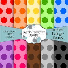 Large Polka Dots - Scrapbook Paper. Rainbow, by KerriCreatesDigital on Etsy