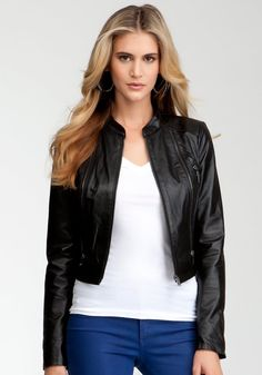 Sharply structured cropped design, exposed zipper detailing and glossy soft leather make this bebe jacket a hot fall essential polished enough to wear to work and cool enough to style over a cocktail dress.