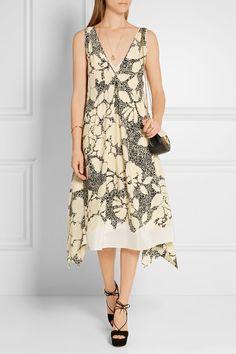 By Malene Birger - Quinesa printed silk-crepe dress Crepe Dress, Silk Crepe, Cornelia Webb, Malene Birger, Jennifer Fisher, White Silk, V Neck Dress, Runway Fashion, Beautiful Dresses