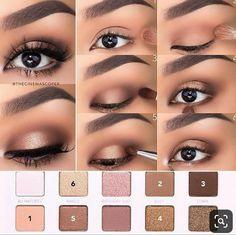 Eye Makeup Steps, Simple Eye Makeup, Natural Eye Makeup Step By Step, Eyeshadow Step By Step, How To Apply Eyeshadow, Easy Eyeshadow, Neutral Eye Makeup, Brown Eyeshadow, Colorful Eyeshadow