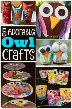 5 Owl Crafts for Kids to Make - Toddler and preschool crafts that are easy to make using supplies and materials you already have around the house. Great decorations for Fall or Halloween or super if kids need a simple craft for a bird or owl unit at school. - Happy Hooligans