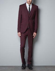 MAROON BLAZER - Suits - Man - ZARA