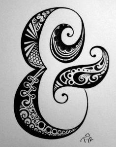 Custom Monogram Ink Drawing Black & White Commissioned by tarren Doodle Designs, Tattoo Designs, Ampersand Tattoo, Great Tattoos, Mini Tattoos, Doodle Inspiration, Black Artwork, Letter Art, Letters
