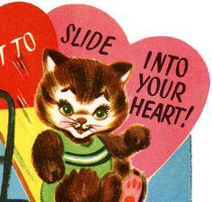 Retro Cat Valentine Image!