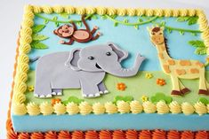 Looking for cake decorating project inspiration? Check out Jungle Birthday Cake by member Corrie Rasmussen. Jungle Birthday Cakes, Jungle Theme Cakes, Birthday Sheet Cakes, Safari Cakes, Novelty Birthday Cakes, Themed Birthday Cakes, Birthday Cake For Kids, 2nd Birthday, Safari Baby Shower Cake