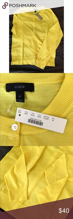 NWT J. Crew Jackie Merino Wool Cardigan Beautiful sunny yellow lemon cardigan, made from lightweight merino wool with a slightly shorter fit and finished with grosgrain ribbon trim and white buttons, an easy wear-everywhere cardigan.  Brand new with tags. Open to offers! J. Crew Sweaters Cardigans