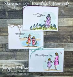 Beautiful Moments – Set of Three Cards - Stampin Up 2020 Happy Birthday Cards, Birthday Greeting Cards, Stampin Pretty, Paint Cards, Flower Stamp, Fathers Day Cards, Pretty Cards, Beautiful Moments, Beautiful Men