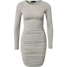 345eeadcc0 Club L Essentials L S Rouched Gathered Dress ( 36) ❤ liked on Polyvore ·  Grey Long Sleeve ...
