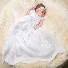 Louisa White Newborn Christening Gown Girls by BabyBeauandBelle