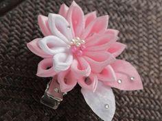 Pink Water Lily Fabric Flower Tsumami Kanzashi by MizuSGarden