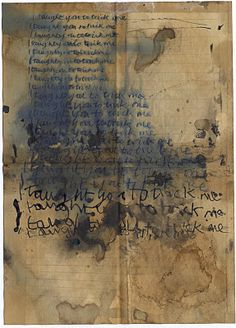 Alice Leach - a piece of letter paper that she put through several processes and then written on top in ink. Started out by dipping it in tea and then folding it and refolding it until the creases were visible.