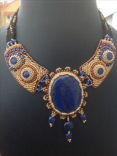 Bead embroidery collar with micro-macramé neck strap