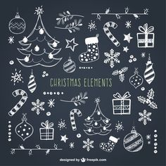 Christmas Elements Collection Premium Vector - All About Decoration Christmas Doodles, Christmas Art, Winter Christmas, Christmas Decorations, Xmas, Vector Christmas, Christmas Balls, Christmas Chalkboard Art, Chalkboard Doodles