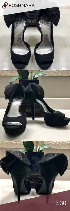 "EUC Gianni Bini Heels Black Gianni Bini Heels embellished with black crystal accents ... Heel Height 4"" Worn twice Gianni Bini Shoes Heels"