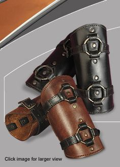 The Beserker sewn ring bracers are designed with leather staps for a versatile adjustment. The bracers feature a high quality double stiching on all surfaces. Leather Bracers, Leather Cuffs, Leather Tooling, Leather Jewelry, Steampunk Gloves, Body Armor, Leather Pattern, Leather Projects, Swagg