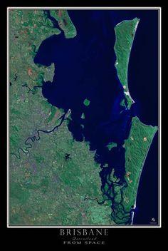 Brisbane Queensland Australia Satellite Poster Map