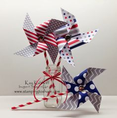 Pinwheel Fun with the June 2014 My Paper Pumpkin Kit, Stamping to Share, Kay Kalthoff, Party Decorations, Summer Parties, 3-D, Stampin' Up!