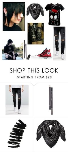 """Jared"" by silliavinete8 on Polyvore featuring Liquor n Poker, Chantecaille, Bobbi Brown Cosmetics, MCM, Converse, casual, Dark, emo, scene and gothic"