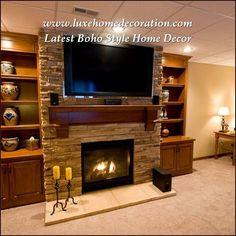 Tv Above Fireplace, Basement Fireplace, Home Fireplace, Fireplace Remodel, Fireplace Design, Fireplace Ideas, Fireplace Refacing, Linear Fireplace, Simple Fireplace