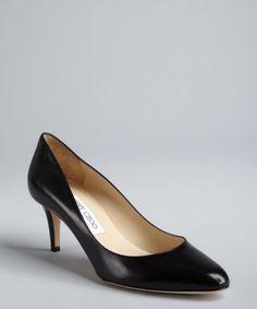 Black kitten heel pumps