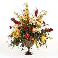 Found it at Wayfair - Silk Hydrangeas, Peonies and Ranunculus Mix in Bronze Compote Ranunculus, Peonies, Gold Home Accessories, Faux Flower Arrangements, Delphinium, Faux Flowers, Antique Gold, Floral Wreath, Burgundy