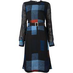 Preen By Thornton Bregazzi Agnes Checked Dress (8 355 SEK) ❤ liked on Polyvore featuring dresses, black, kohl dresses, see through dress, sheer silk dress, checkered dress und black sleeve dress