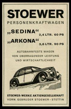 Alte Werbung 1941 Stoewer-Werke Stettin SEDINA ARKONA Personenkraftwagen   eBay