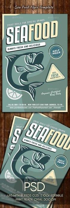 Seafood #Flyer Template - #Restaurant Flyers Download here: https://graphicriver.net/item/seafood-flyer-template/19628992?ref=alena994