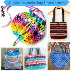 40+free easy crochet bag and purse pattern tutorial: