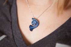 Blue French Horn Necklace inspired by How I Met Your Mother