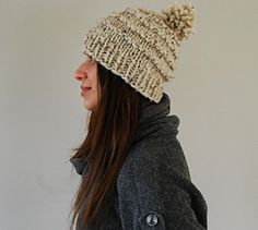 A classic vintage style ski cap complete with a playful pom-pom. Knit in super bulky yarn this is a quick and satisfying knit. Great for holiday gift giving!