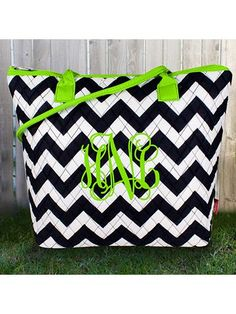 Navy Chevron Quilted Shoulder Bag with Lime Trim